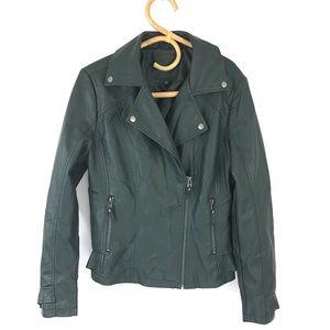 Max Studio Faux Leather Green Moto Jacket Size L